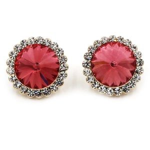 Noble crystal red flower golden earrings